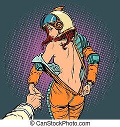 mir, astronaut, paar, liebe, frau, folgen, undresses, sexy