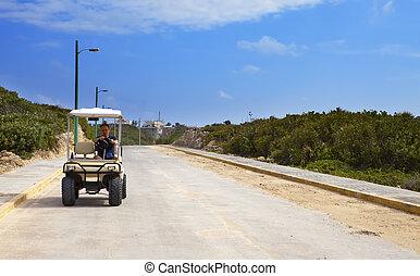 mir, auto, seashore., golfen, mann