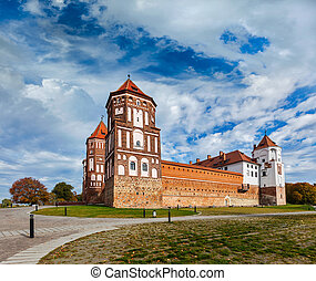 Mir castle in Belarus - Travel belarus background - Medieval...