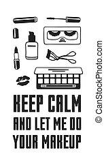 """mir, eigentlich, mode, kunst, schoenheit, work., makeup""""., notieren, aufmachung, zeichnung, abbildung, kreativ, vektor, lassen, gelassen, tinte, gezeichnet, produkte, hand, """"keep, dein"""
