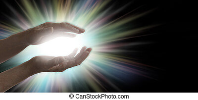 Miracle maker - Pair of parallel female healer's hands with...