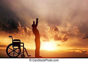 miracle., op, gehandicapte man, staand, wheelchair., medisch, genezing