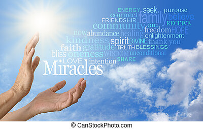 Pair of female hands outstretched into a blue sky background with a word cloud of Miracle related words streaming across to the right and a bright sun burst on the left