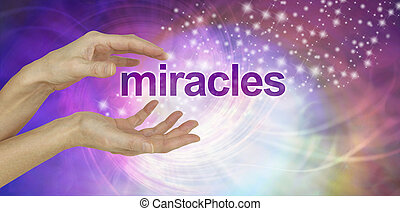 Weihnachtsbilder Word.Miracles Background Female Hand Facing Up With The Word Miracles