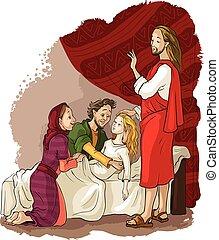 Miracles of Jesus. Raising of Jairus daughter - Vector...