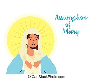 miraculous virgin assumption of mary with lettering vector ...