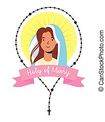 miraculous virgin assumption of mary with rosary vector ...