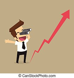 mirada, empresa / negocio, binoculars., crecimiento, hombre...