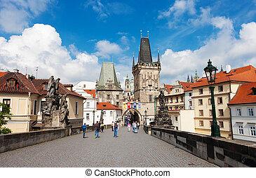 mirada fija, town), checo, mesto, praga, república, vista,...