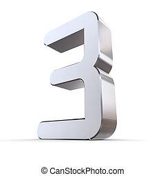 mirada, -, número 3, ocr, brillante