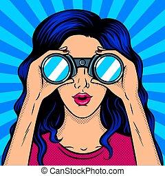 miradas, vector, taponazo, binocular, arte, mujer, por