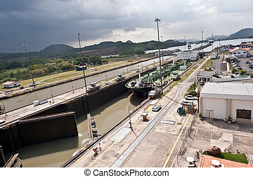 Miraflores locks Panama canal - Ship entering Miraflores...