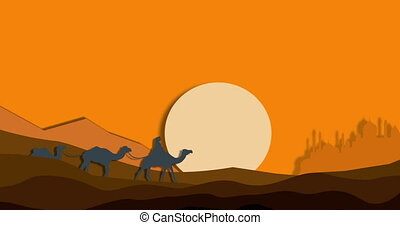 mirage caravan of camels among the sand - mirage in the...