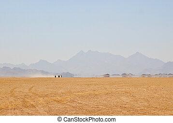 mirage in desert - mirage in egypt rocky desert with ...