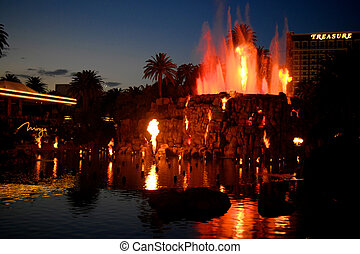 Mirage Volcano Erupting - Mirage Volcano outside the Mirage...