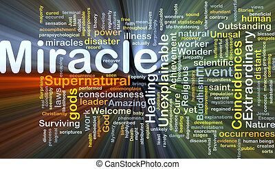 mirakel, baggrund, begreb, glødende