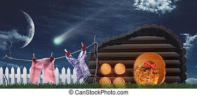 mirakel, middernacht, in, de, dorp