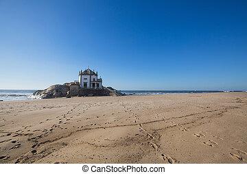 Miramar Beach and chapel Senhor da Pedra, Porto, Portugal.