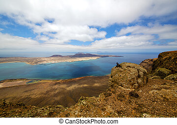 miramar del rio harbor rock   cloud beach  boat    lanzarote spain