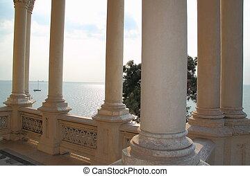 Miramare Castle, Trieste Italy - Columns of Miramare Castle...