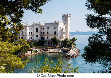 Miramare castle with vegetation frame in italy