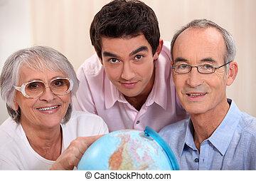 mirar, adulto, globo, familia