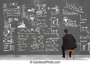 mirar, algunos, cálculos, hombre de negocios