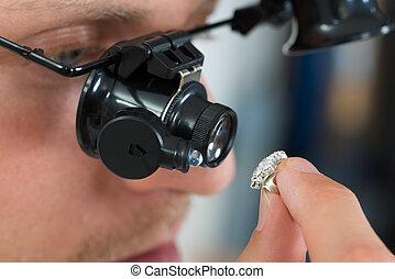 mirar, anillo, loupe, joyero