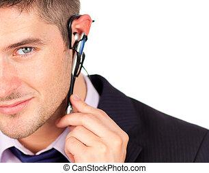 mirar, auriculares, hombre cámara