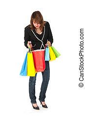 mirar, bolsas, compras