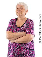 mirar, brazos up, anciano, cruzado, mujer