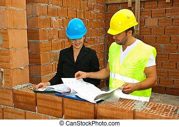 mirar, casa, trabajadores, construcciones, planes