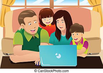 mirar, computador portatil, familia , feliz