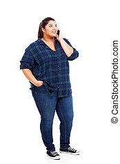 mirar, conversación de mujer, joven, arriba, teléfono celular, más, tamaño