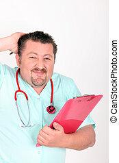 mirar, desconcertado, portapapeles, estetoscopio, enfermera,...