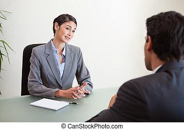 mirar, director, solicitante, entrevistar, bueno