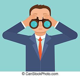 mirar, hombre de negocios, tendencias, vector, futuro