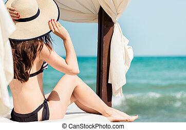 mirar, mar, playa, mujer