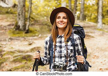 mirar, maravilloso, mujer felíz, rocas