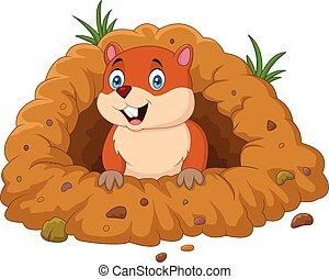 mirar, marmota, caricatura, agujero, afuera