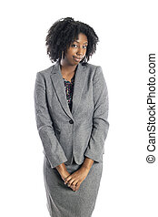 mirar, mujer de negocios, hembra negra, tímido