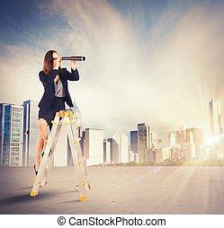 mirar, mujer de negocios, metas, nuevo