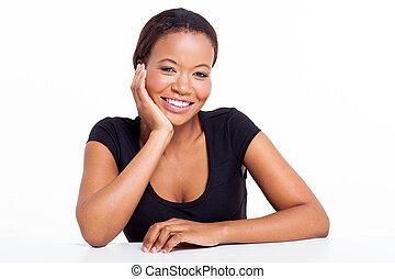 mirar, mujer de negocios, norteamericano, cámara, africano