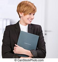 mirar, mujer de negocios, trabajo, nuevo