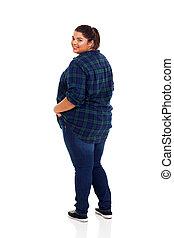 mirar, mujer, más, espalda, tamaño