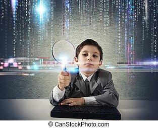 mirar, niño, código, malicioso, joven