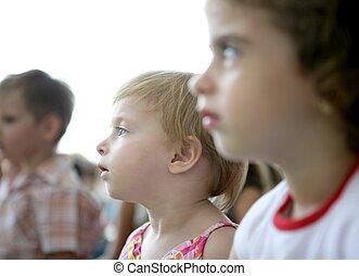 mirar, niños, espectador, exposición