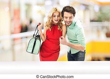 mirar, ocasión, pareja, asombrado
