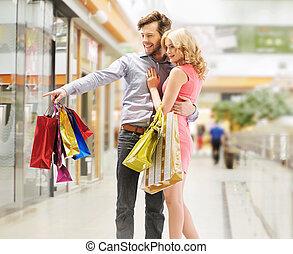 mirar, pareja, ventas, contento