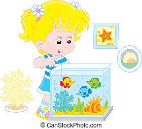 mirar, peces, niña, acuario